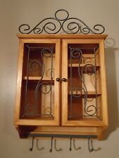 Wall Cabinet Curio Display Case Solid Wood and  Metal Scroll Work Wall Shelves