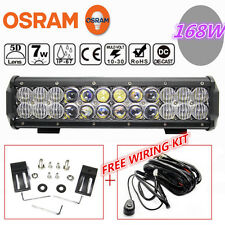 OSRAM 5D 12Inch 168W Led Work Light Bar Spot Flood Offroad 4X4WD + Wiring Kit