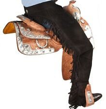 WESTERN HORSE BLACK SUEDE LEATHER SHOW CHAPS EXTRA LARGE W/ FRINGE SADDLE CHAPS