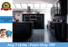 Fitted Complete Kitchens For Sale Black Gloss Rigid PreBuilt Units Cabinets NEW