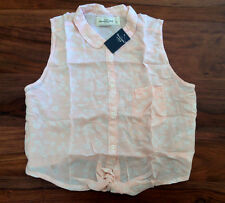 Abercrombie & Fitch Women Crop Top Shirt L Floral Pastel Pink Bow Tie New