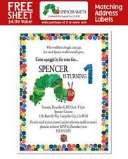 8 The Very Hungry Caterpillar Birthday Party Personalized INVITATIONS