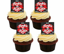 25th Anniversary Edible Cupcake Toppers, Standup Cake Decorations Silver Wedding