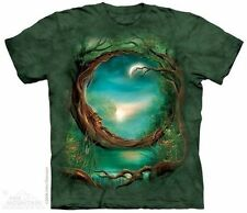 Moon Tree Old Man Trunk Face Fantasy Art Hand Dyed T-Shirt, NEW UNWORN