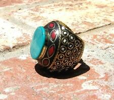 TURQUOISE CORAL BRASS RING NEPAL TRIBAL BELLY DANCE GYPSY COSTUME BOHO FREE SHIP