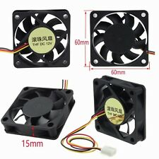2pcs Ball Bearing DC 12 Volt 6cm 60mm x 15mm Computer PC System CPU Cooling Fan