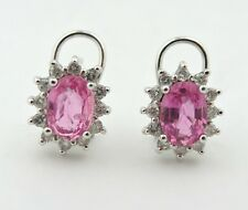 QUALITY 2 ct Diamond & Pink Topaz Halo Leverback 14k White Gold Earrings Studs