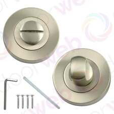 BATHROOM THUMB TURN and Release Set Astral Toilet Door Lock Privacy SATIN NICKEL
