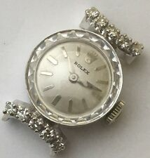 VINTAGE ROLEX 14K SOLID WHITE GOLD AND DIAMONDS HAND WINDING WATCH.PETITE.RUNS