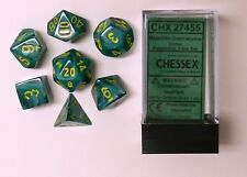 Chessex 7 Dice Set Vortex Malachite Green w/ Yellow CHX 27454 for D&D & D20