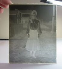 Vtg glass negative photo slide. Black & white. Woman in old fashion dress