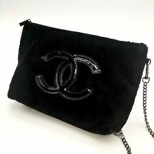 New Chanel Black Chain Cosmetic Cross Bag VIP Gift USA Seller