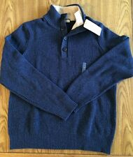 NWT Mens G. H. BASS & CO. Midnight Blue Button Mock Sweater Sz L Large $75.00