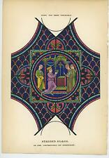 ANTIQUE 1851 HAND COLORED STAINED GLASS MONK CATHEDRAL CHARTRES CHURCH ART PRINT