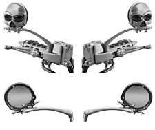 ZOMBIE SKULL CHROME MIRRORS FOR YAMAHA Cruiser Motorcycles: Kuryakyn 1450/1413