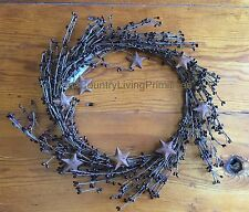 """New Primitive Country 10"""" Pip Berry And Rusty Star Wreath ~ Burgundy"""