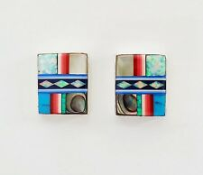 DIVINE TURQUOISE MULTICOLOR OPAL LAPIZ CHANNEL INLAY 925 SILVER STUD EARRINGS
