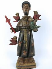 "Large 16"" Guatemalan Hand Carved Wooden Saint St. Francis Of Assisi Santo Statue"