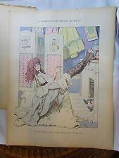 ancienne lithographie tire de livre erotique nue humour gerbault jeune elegante