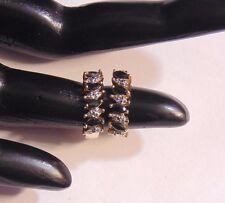 Sterling Silver Vermeil Genuine Sapphire & Diamond Accents Hoop Earrings  42112