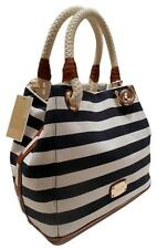 $228 MICHAEL KORS MARINA NAVY WHITE STRIPE CONVERTIBLE GRAB TOTE HANDBAG*NWT*