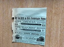 m7-1 ephemera 1900 advert de la rue fountain pens the pelican