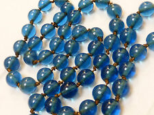 CHINESE ANTIQUE PEKING GLASS BEADS NECKLACE KNOTED WITH 24KG 金丝线 ROLLED THREAD
