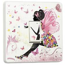 Pink Fairy Princess Butterfly Light Switch Sticker vinyl cover skin [Single]