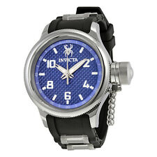 Invicta Russian Diver Blue Glass Fiber Dial Black Polyurethane Mens Watch 17945