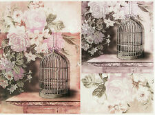 Rice Paper for Decoupage, Scrapbook Sheet, Craft Paper Vintage Bird Cages