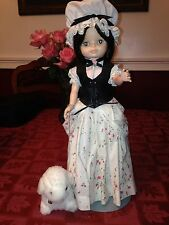 Handcrafted 18 Inch Doll w/Baby Sheep on metal Stand