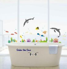 UNDER THE SEA BATHROOM DECOR/DOLPHIN&FISH WALL STICKERS KIDS BEDROOM VINYL PAPER