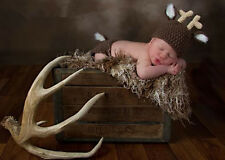 Newborn Baby Boys Girls Photography Prop Crochet Knitted Deer Hat Diaper Outfits