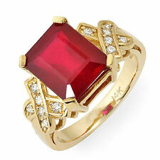 Vintage 6.80 ct natural ruby & diamond ring 14k gold