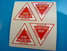 DANGER EJECTION SEAT Model Aircraft / Car Stickers Decals 4 off 50mm