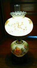 Vtg Victorian Hand Painted Floral Gone with the Wind Hurricane Parlor Table Lamp