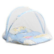 Baby Cradle Bed Mosquito Insect Net Infant Cushion Mattress with Pillow Blue