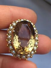Antique Hallmark 9ct seed pearl and citrine gold brooch-9.3g