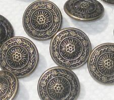 """Pretty Set 14 FLOWER Picture Vintage Antiqued Brass Metal New Buttons 5/8"""""""
