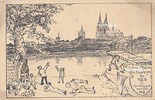 Ansichtskarte Apostelgymnasium Köln Einjährigen 1919 Studentika AK Zeichnung