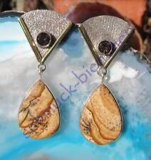 Ohrstecker Rauchquarz Sahara Jaspis Stein des Widder in Sterling Silber 925