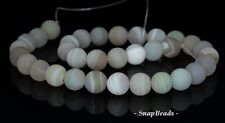 12MM MOONLIGHT AGATE GEMSTONE GREY GREEN STRIPED MATTE ROUND LOOSE BEADS 7.5""
