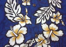 Mens L Floral  Royal Creations Hawaiian Aloha Shirt Wear Cotton Made in Hawaii