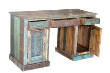 "55"" W Desk hand carved two door three drawer distressed paint reclaimed wood"