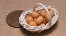 1:12 Dozen Brown Eggs In A Basket Dolls House Miniature Food Breakfast Accessory