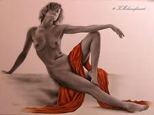 Originale AKT Zeichnung A3, Kein Druck, Erotik Nude Drawing A3 (29,7 x 42 cm)