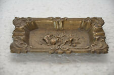Old Brass Rectangular Engraved Handcrafted Ash Tray ,Rich Patina