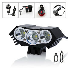 3 x CREE 10000LM XML U2 LED Rechargeable Bike Bicycle Light Headlamp Rear Lamp