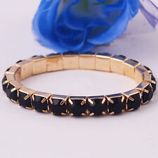 Popular Black Gems 14k Gold Filled Bangle Bracelet Xmas Wedding Jewelry