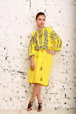 Embroider Long Dress Vyshyvanka Yellow. Ukrainian Vyshyvanka